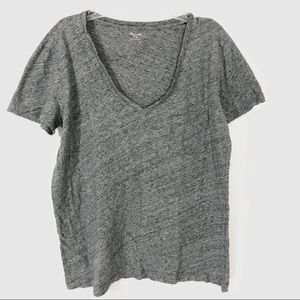 Madewell 100% Cotton Gray V Neck T Shirt